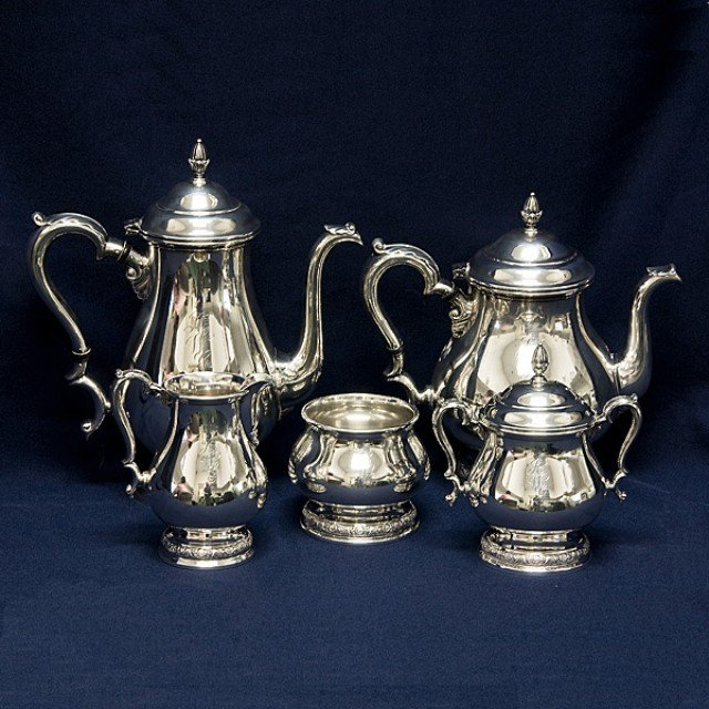 International Prelude 5 piece Sterling Silver Tea Set  (total 77.4 troy oz). image 1