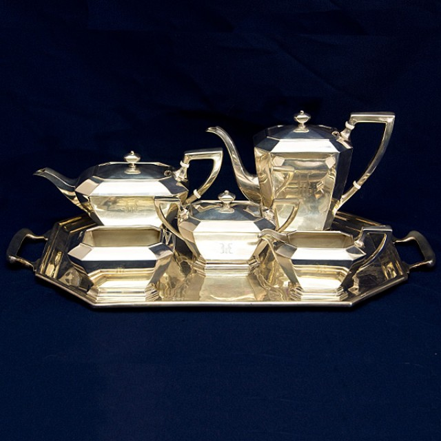 Gorgeous Gorham Sterling Silver Fairfax Tea Set 5 piece plus tray (total weight over 121 oz troy) image 1