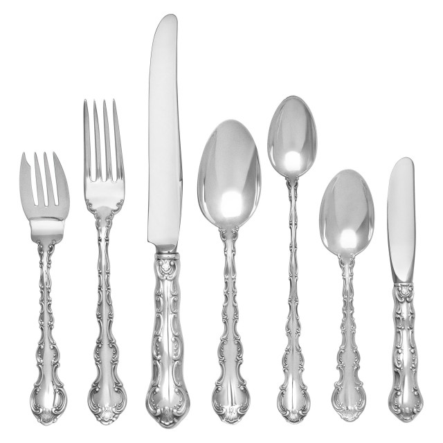 """STRASBOURG"" sterling flatware set by Gorham, patented in 1892. 7 Place Setting: for 12 (incomplete) + 14 Serving pieces. Over 3600 grams sterling silver. image 1"