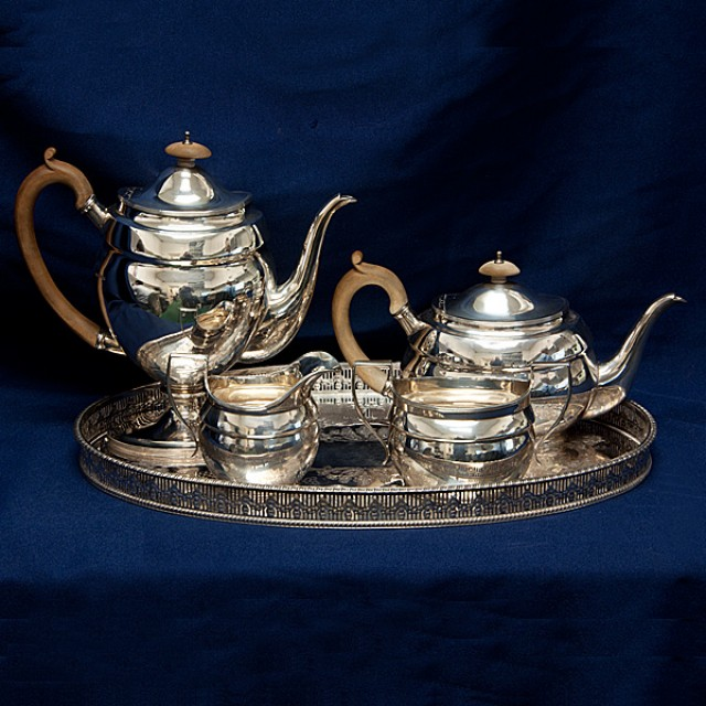 Reed & Barton English Sterling Silver 4 piece Tea Set over 56 oz troy with Silver Plate Tray image 1