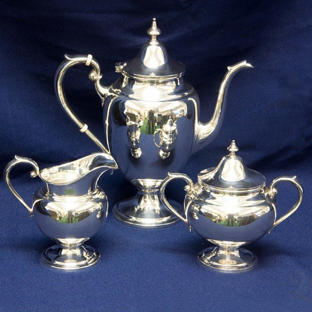 Gorham Puritan 3 piece Sterling Silver Coffee Set, creamer and sugar bowl w/lid 39.77 oz troy image 1