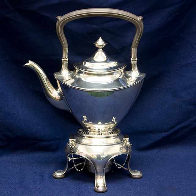 "Gorham Solid Sterling Silver Water Kettle mark ""3566"" with burner and stand 50.93 oz troy image 1"