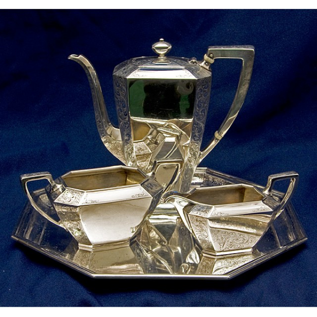 Beautiful Antique 4 piece Sterling Silver Tea Set w/ Matching Tray over 45.59 oz troy image 1