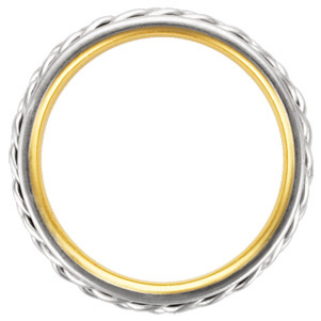 Platinum and 18k yellow gold wedding band image 2