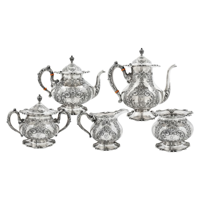 Frank M. Whiting 5 piece hand chased with gold gild sterling silver tea set over 137 oz troy image 1