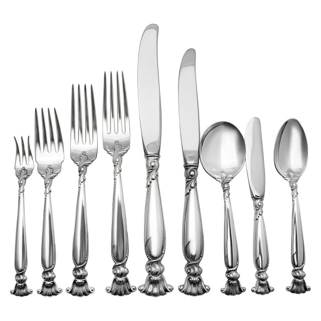 "Wallace ""Romance of the Sea"" Sterling Silver Flatware Set. 8 pc service for 12 - 123 total pcs. image 1"