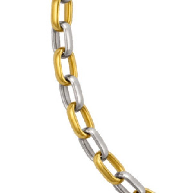 18k yellow gold and platinum necklace handmade in Germany image 1