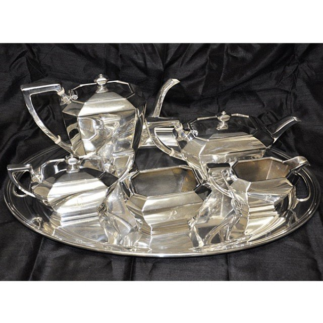 Gorgeous Gorham Fairfax Sterling Silver 5 piece Tea Set with Silver Tray(6 pcs tot) over 112 oz troy image 1