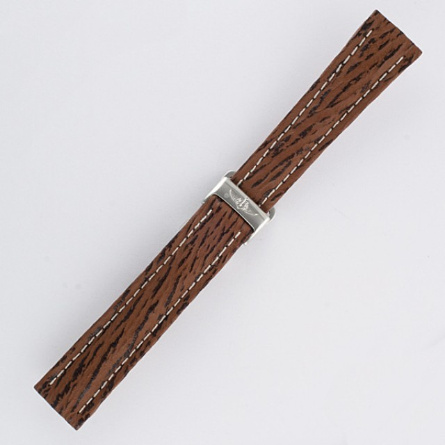Breitling brown shark skin strap with stainless steel deployant buckle (18x16) image 1