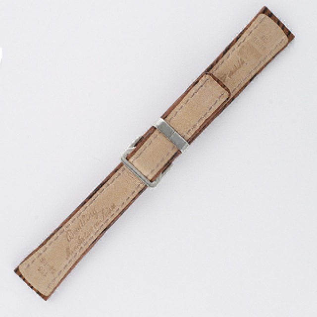 Breitling brown shark skin strap with stainless steel deployant buckle (18x16) image 2