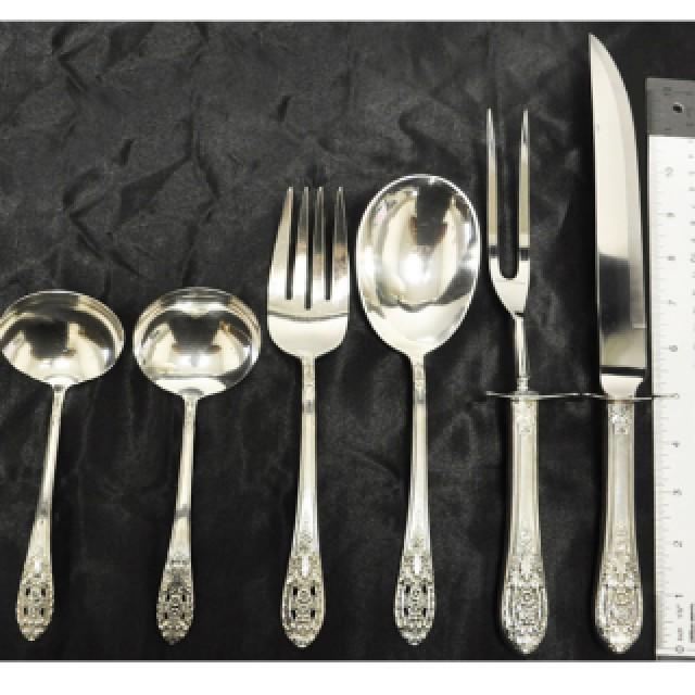 "Fine Arts ""Crown Princess"" Sterling Silver Flatware Set. 6 pc service for 12 - 81 total pcs image 3"