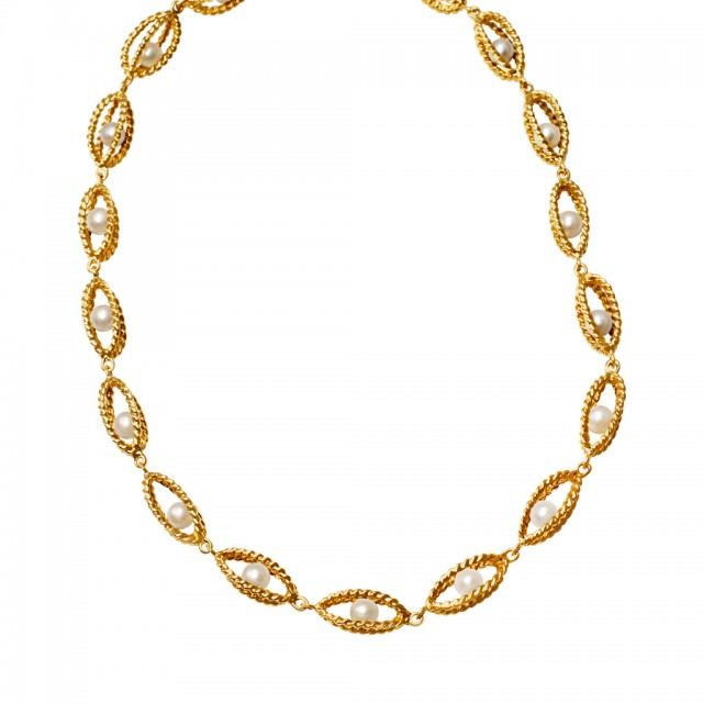 Twisted gold and floating cultered pearl necklace in 14k. image 1