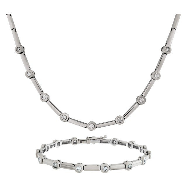 Diamond necklace and bracelet set. 1.50 carats in diamonds image 1