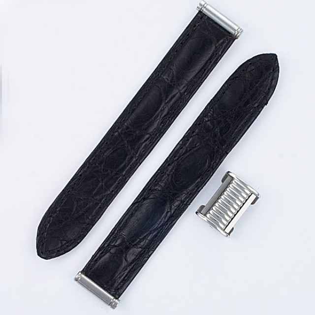 "Boucheron Solis black crocodile strap 15mm by lug end 3.5"" in length image 1"