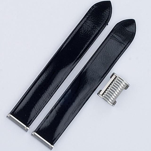 "Boucheron Solis black lackered strap 15mm by lug end 3.5"" length image 1"
