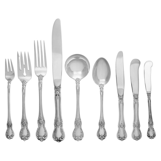 """Old Master"" Sterling Silver Flatware Set, Ptd in 1942 by Towle Silversmiths. 8 Place Settings for 20 + 10 Serving Pieces- Over 150 Oz Troy of Serling Silver. Perfect set to entertain. image 1"
