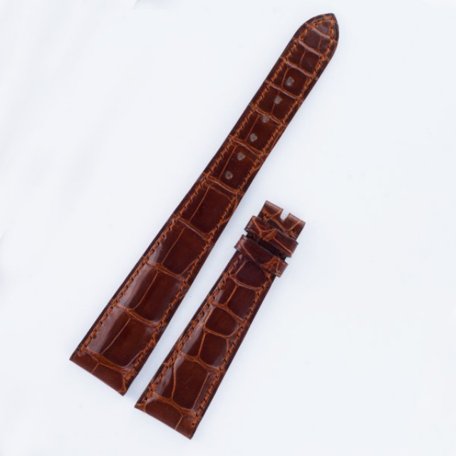 "Patek Philippe brown alligator padded strap long 20mm x 14mm for tang buckle, long 5.25"" & short 3"" image 1"