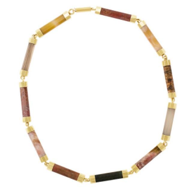 Hematite & agate bar link necklace in 14k image 2