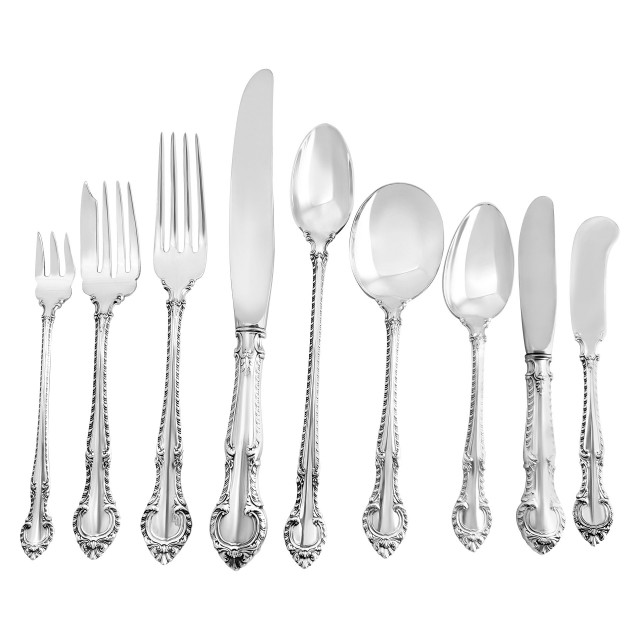"""ENGLISH GADROON"" sterling silver flatware set by Gorham, patented in 1939- 8 place setting for 12 + 18 serving  pieces. image 1"