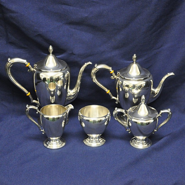 Beautiful Sterling Silver 5 piece Coffee/Teapot Set by Frank M. Whiting over 55 oz troy image 1