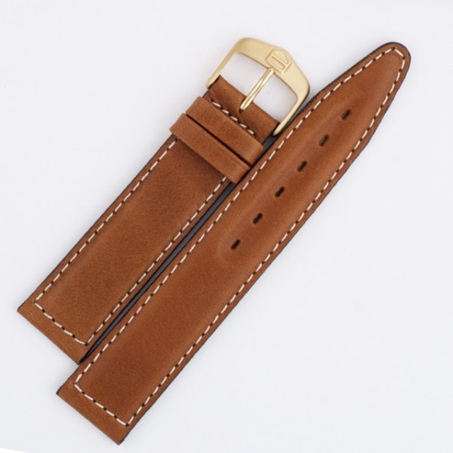 Tag Heuer brown leather strap with white stitching (19x18) image 1