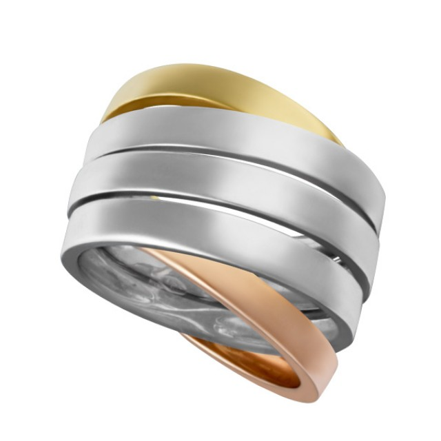 Wide band in 18k yellow white & rose gold image 1