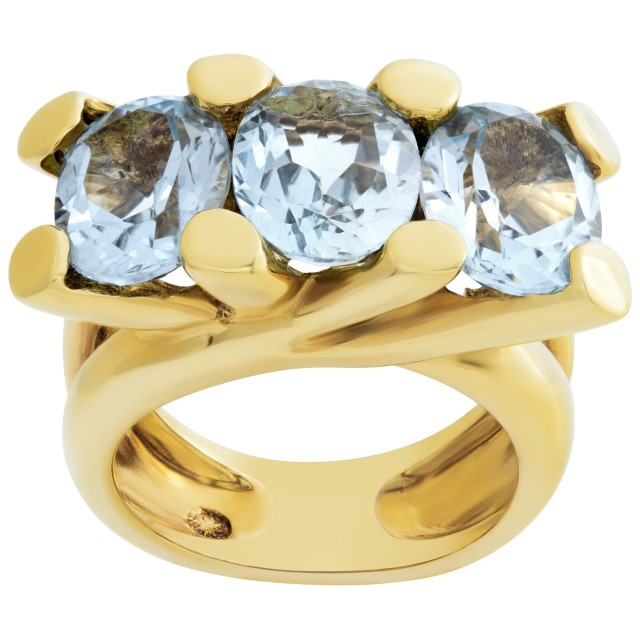 Blue topaz ring in 18k gold image 1