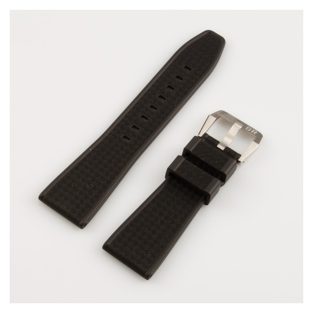 Bell & Ross black textured rubber band with stainless steel tang buckle (22x18) image 1