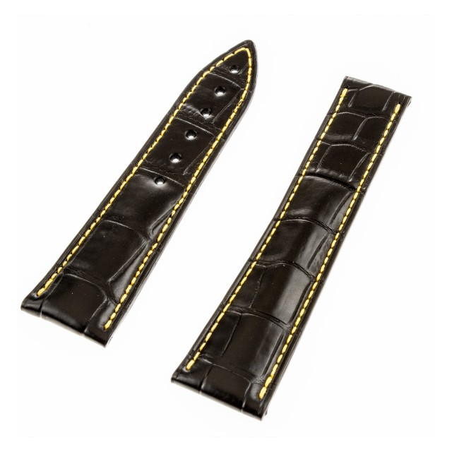 Blancpain black leather watch band (22 x 18) image 1