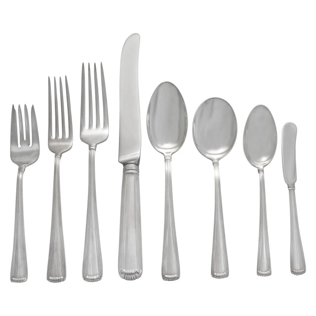 """""""EMBASSY SCROLL"""" Sterling Silver Flatware set by Cartier. 8 place setting for 8 + 2 Place Fish set for 8  + 5 serving pieces- Beautiful Art Deco style set. Over 3200 grams sterling silver. image 1"""