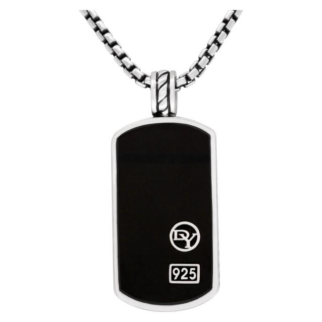 David Yurman silver chain with onyx pendant image 1