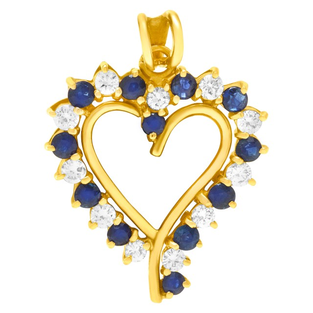 Sapphire and Diamond heart pendant in 14k yellow gold. image 1