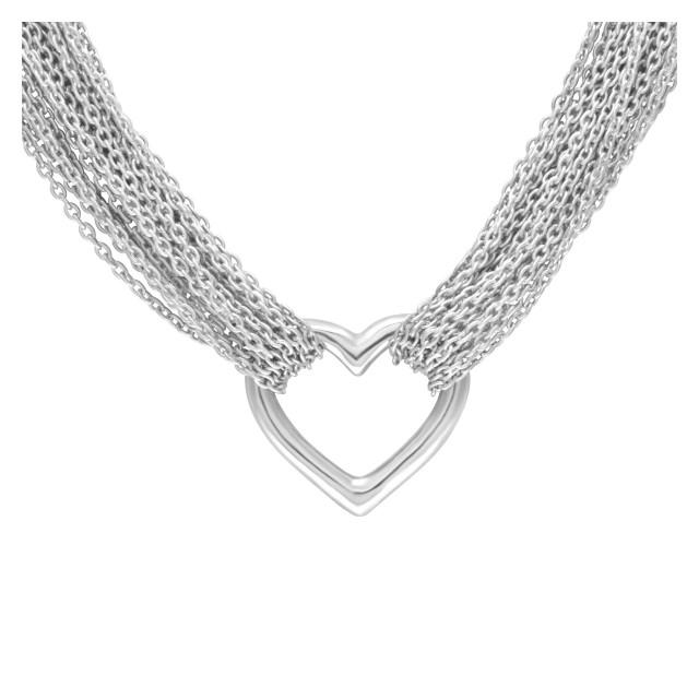 Tiffany & Co. sterling silver multi-chain mesh heart pendant necklace image 1