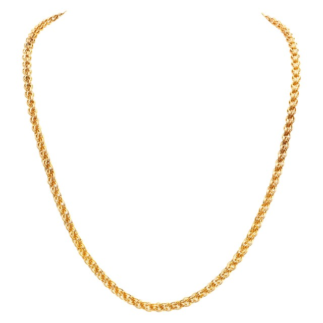 Intricate 14k yellow gold link necklace. Width: 4.8mm. Length: 20 inches. image 1