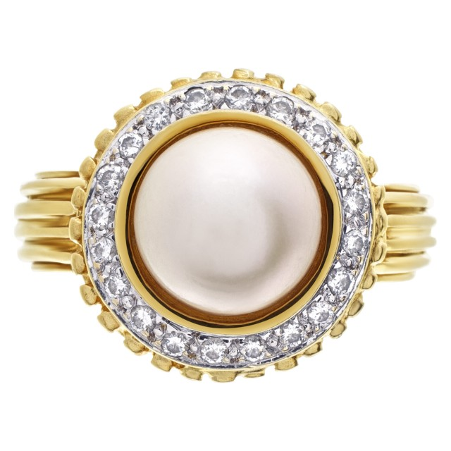 18k yellow gold ring with 8mm pearl and diamond accents 0.40 carat image 1