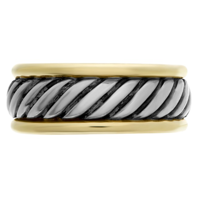 Mens David Yurman Cable Band Ring in 14k and sterling silver image 1