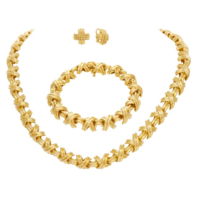 Tiffany & Co. Signature Crossover 3 piece collection in 18k; necklace, bracelet & earrings image 1
