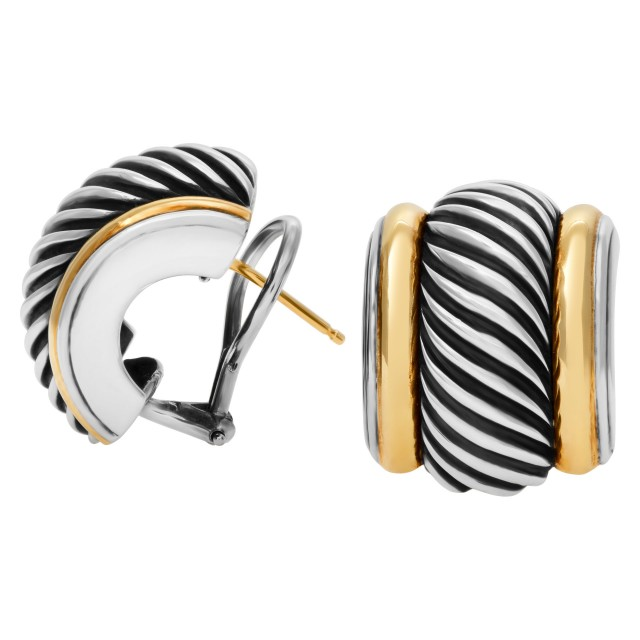 "David Yurman Sterling Silver & 14K yellow gold ""Cigar Cable"" design half hoop earrings. image 1"