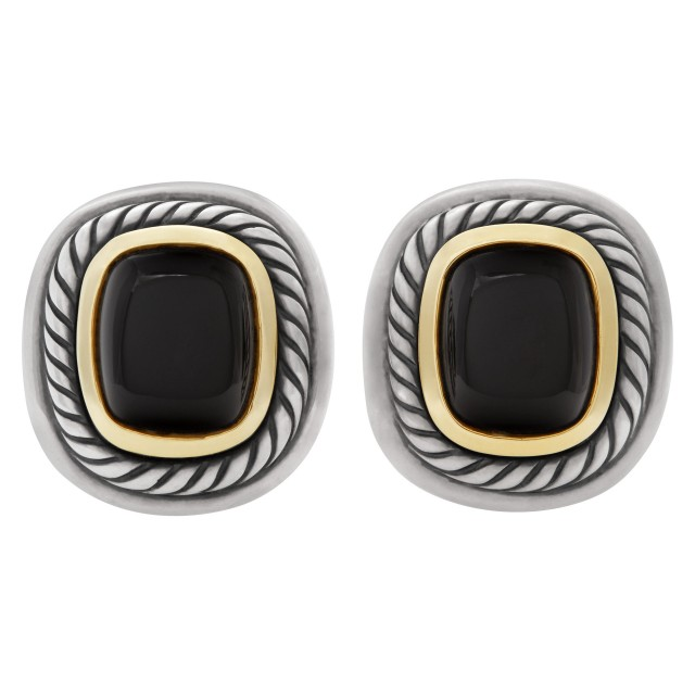 David Yurman Albion earrings in sterling silver and with 14k yellow accented black onyx centers image 1
