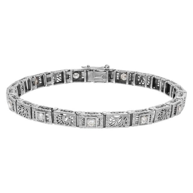 Vintage 14k braceelet with tiny diamonds image 1