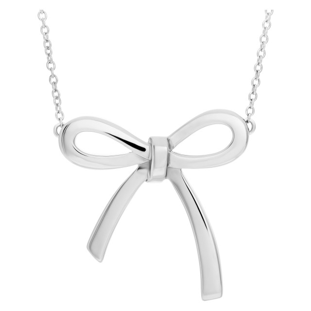 Tiffany & Co. bow pendant necklace in sterling silver image 1