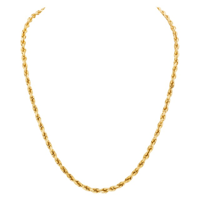 Rope style chain in 14k yellow gold image 1