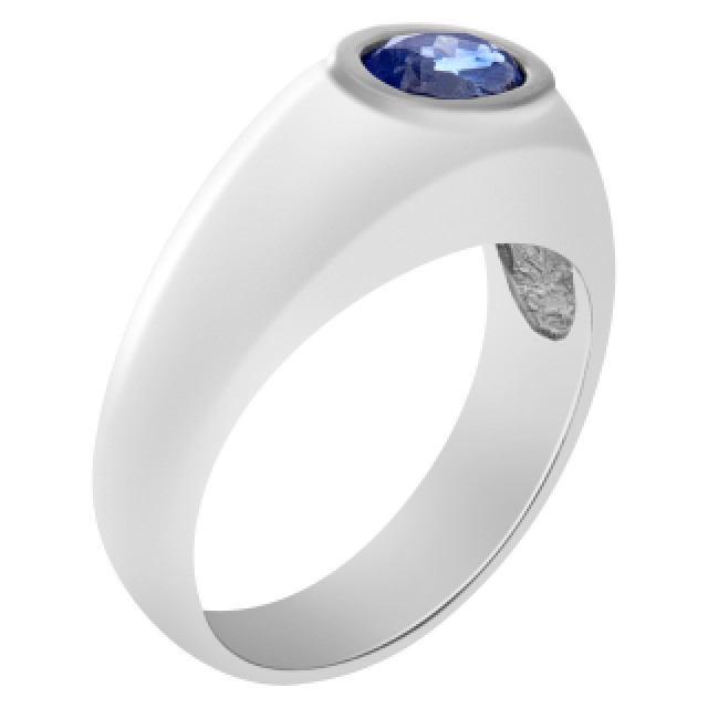 Stately sapphire ring in 14k white gold image 2