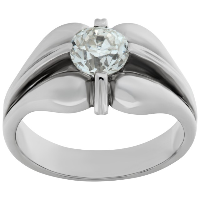 """Gypsy"" ring in 14k white gold with app. 1.03 carat diamond image 1"