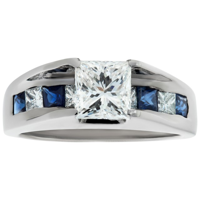 GIA certified princess cut diamond 1.01 cts (H Color, VS2 Clarity) ring set in platinum. image 1