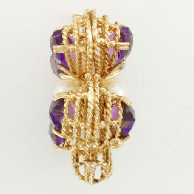 Vintage amethyst four leaf clover pendant in 14k pink gold image 2