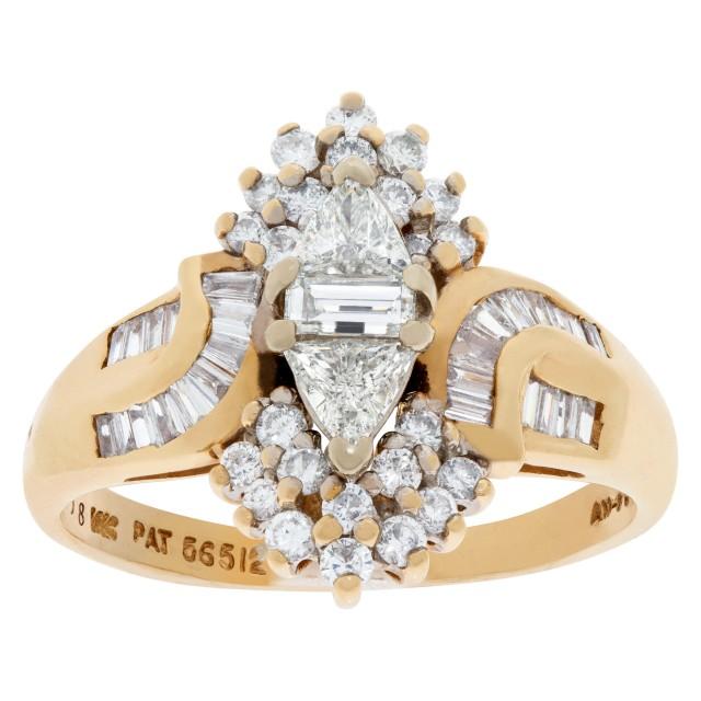 "Fashion ""ballerina"" style diamond ring in 14k yellow gold. 0.65 carats (J, SI-1) image 1"