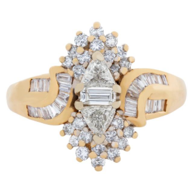 "Fashion ""ballerina"" style diamond ring in 14k yellow gold. 0.65 carats (J, SI-1) image 2"