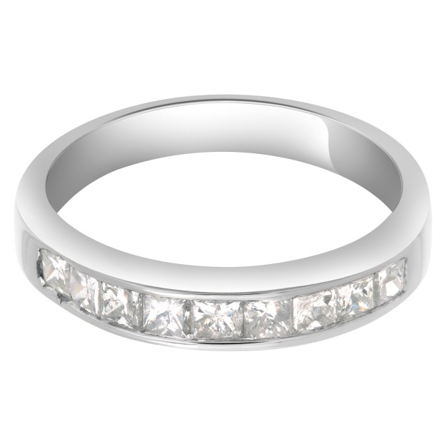 Beautiful diamond semi eternity band in 14k white gold. 1.0 carat in diamonds Size 7.5 image 1