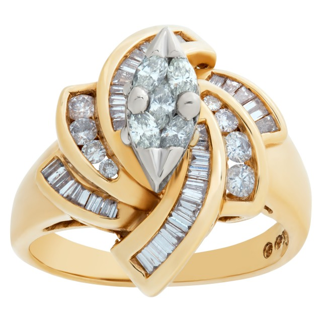 Fascinating diamond ring in 14k yellow gold. 1.50 carats in diamonds. Size 7.75 image 1
